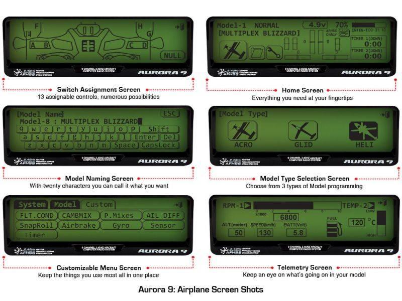 17_6_19124X 6 aurora 9 9 channel 2 4ghz aircraft computer radio hitec rcd usa  at fashall.co