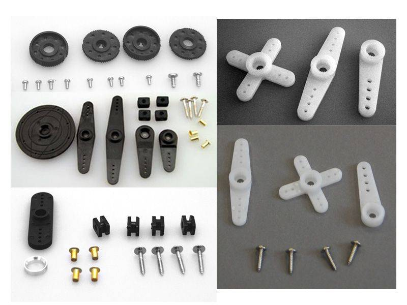 Various servo horns and screws