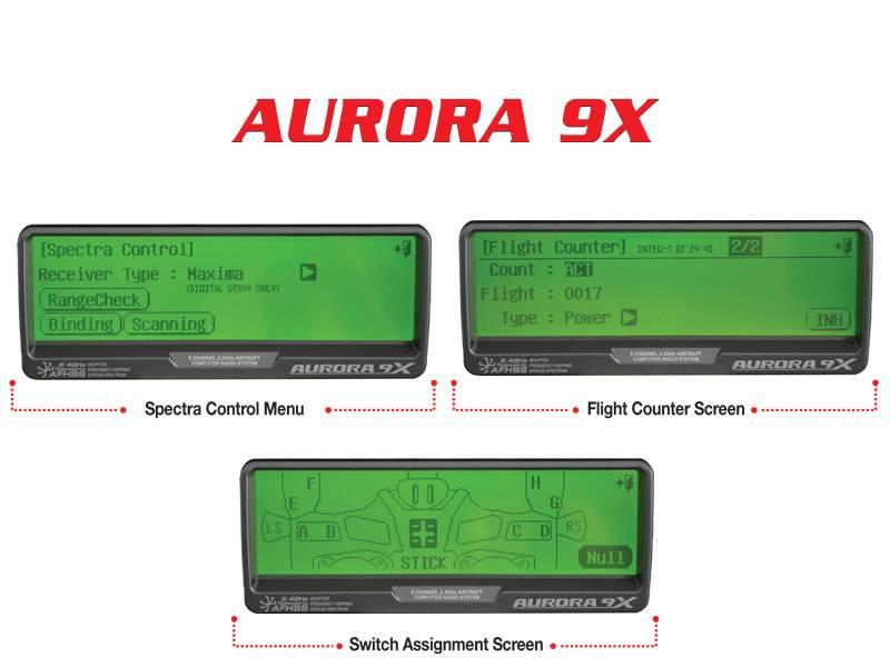 337_1_Aurora9x_Screens aurora 9x 9 channel 2 4ghz aircraft computer radio hitec rcd usa  at fashall.co