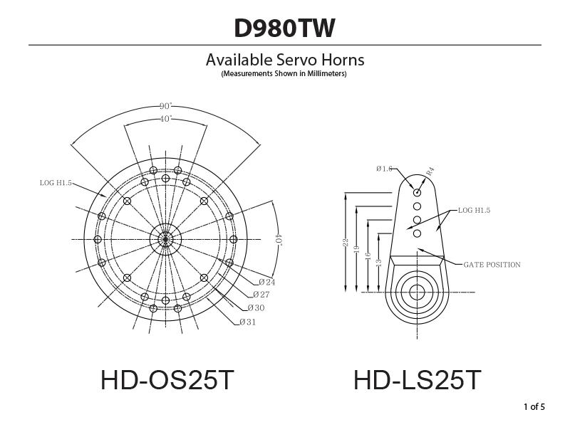 D980tw 32 Bit Monster Torque Titanium Gear Servo